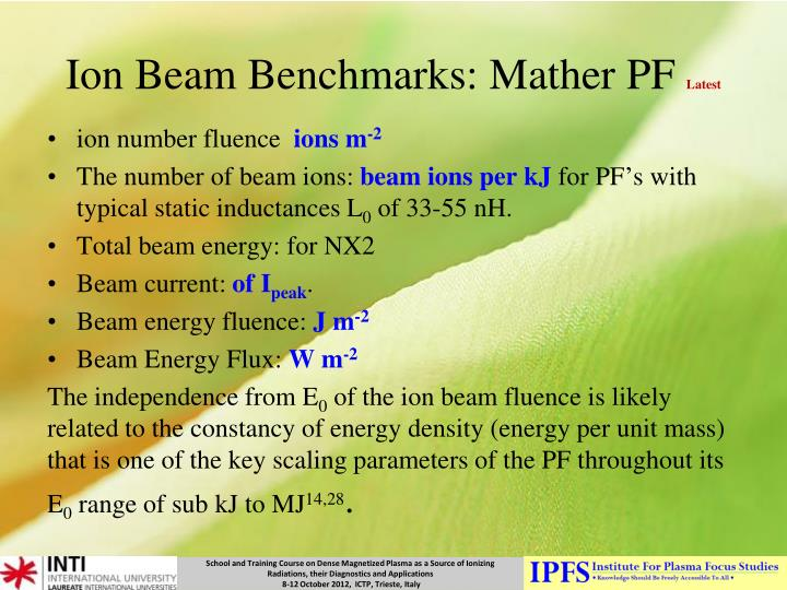 Ion Beam Benchmarks: Mather PF