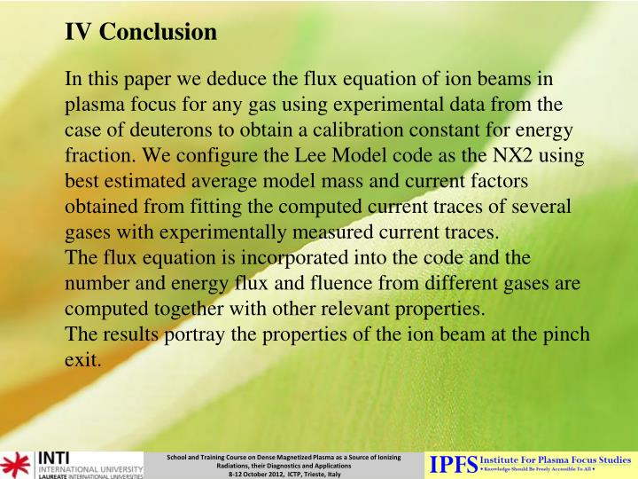 IV Conclusion
