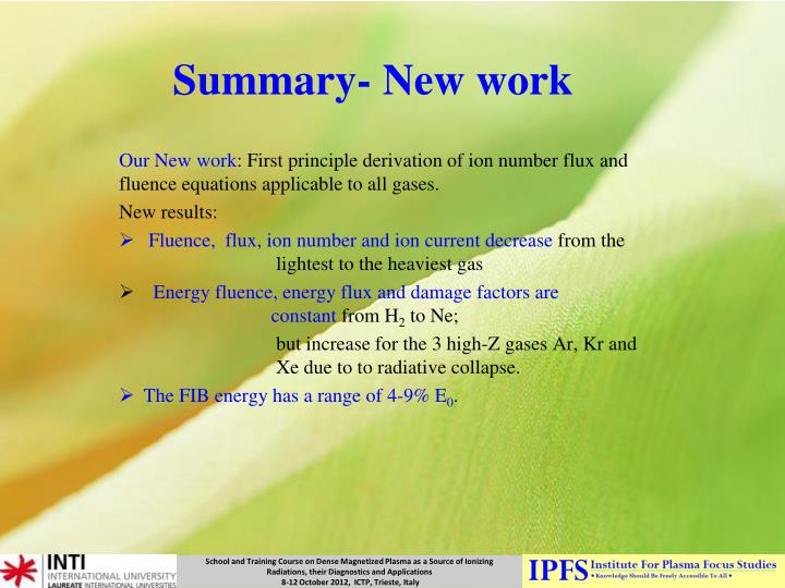 Summary new work