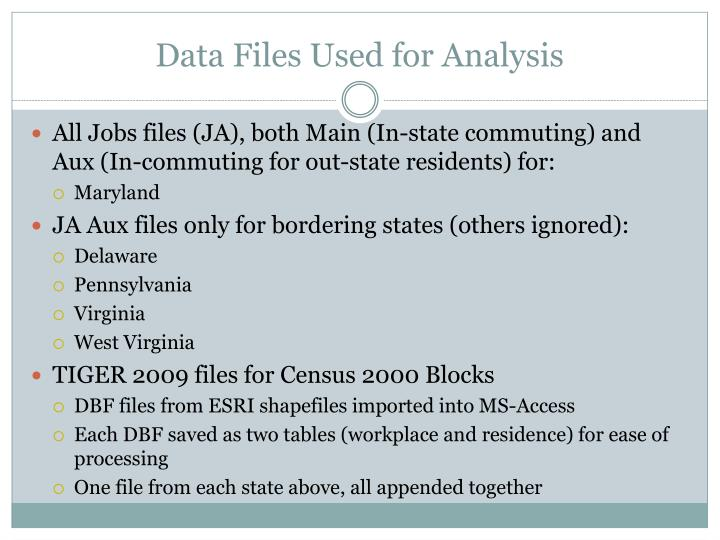 Data Files Used for Analysis