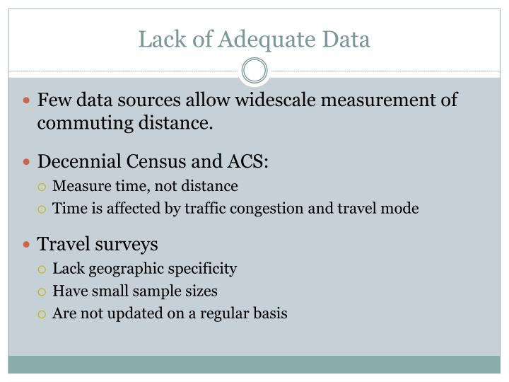 Lack of Adequate Data