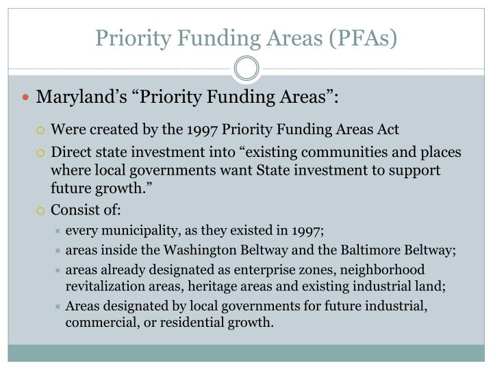 Priority funding areas pfas