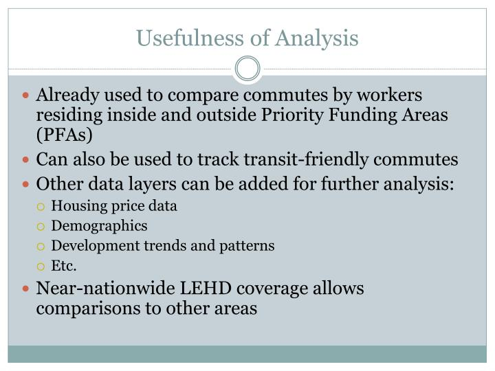 Usefulness of Analysis