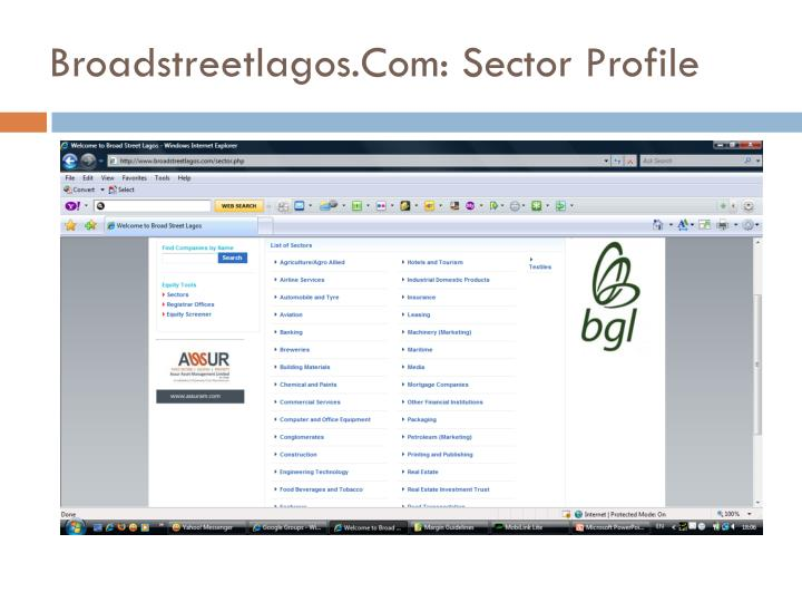 Broadstreetlagos.Com: Sector Profile