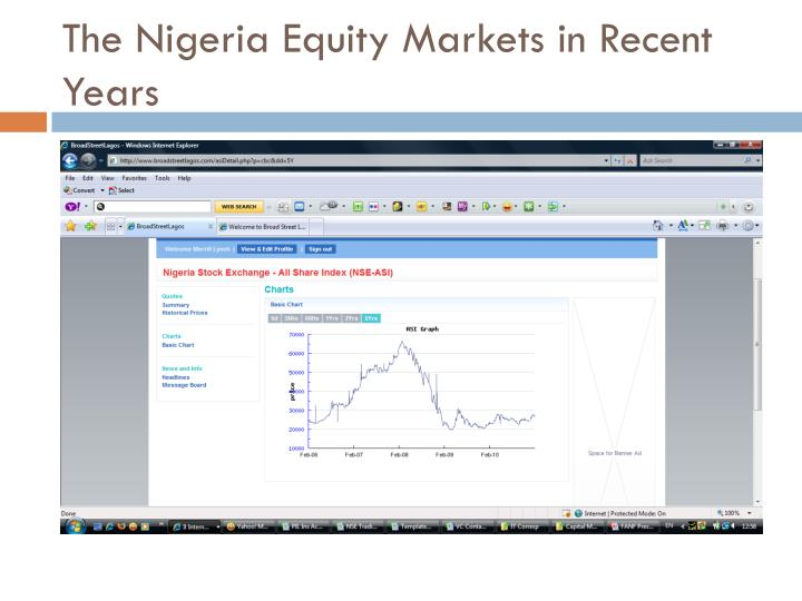 The Nigeria Equity Markets in Recent Years
