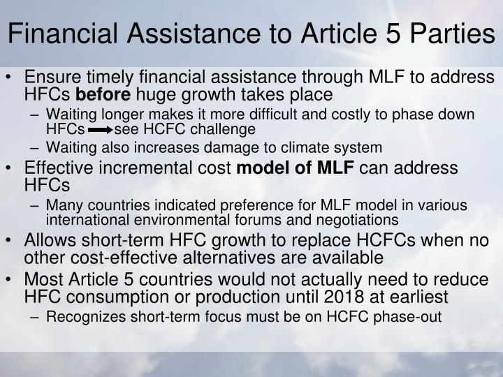 Financial Assistance to Article 5 Parties