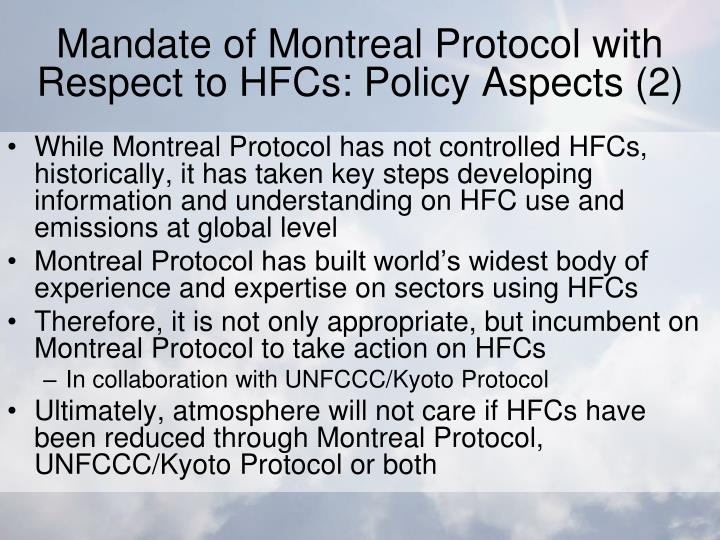 Mandate of Montreal Protocol with Respect to HFCs: Policy Aspects (2)