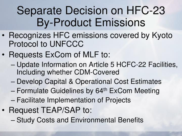 Separate Decision on HFC-23