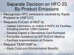 separate decision on hfc 23 by product emissions