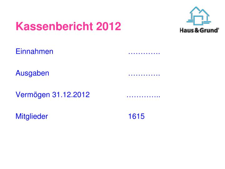 Kassenbericht 2012