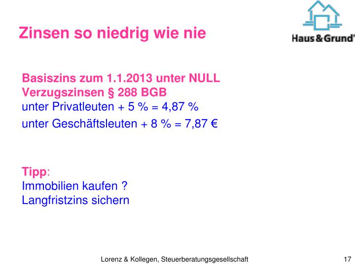 Basiszins zum 1.1.2013 unter NULL