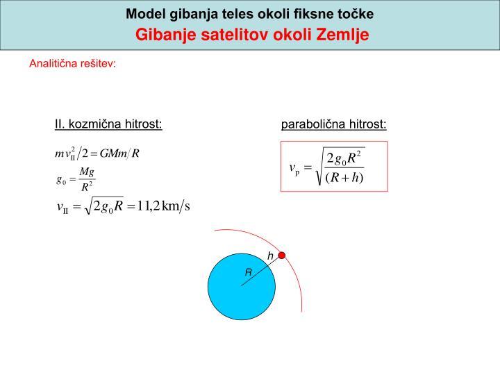 Model gibanja teles okoli fiksne točke