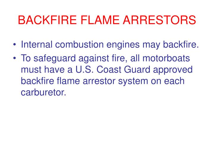 BACKFIRE FLAME ARRESTORS