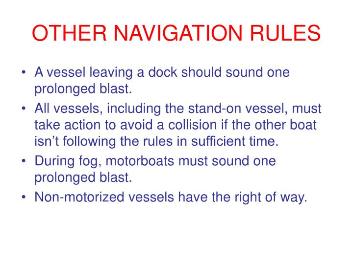 OTHER NAVIGATION RULES