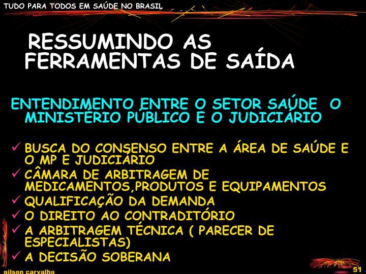 RESSUMINDO AS FERRAMENTAS DE SAÍDA