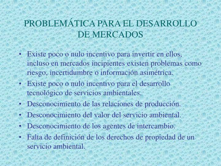 PROBLEMÁTICA PARA EL DESARROLLO DE MERCADOS