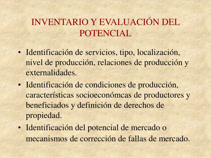 INVENTARIO Y EVALUACIÓN DEL POTENCIAL