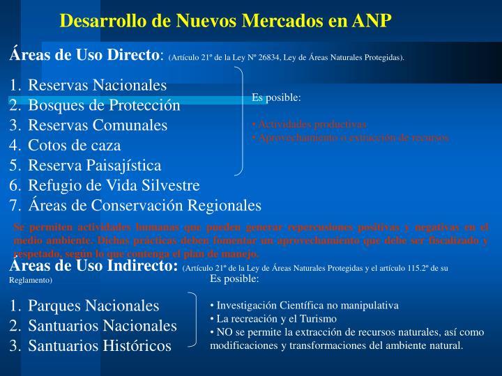 Desarrollo de Nuevos Mercados en ANP