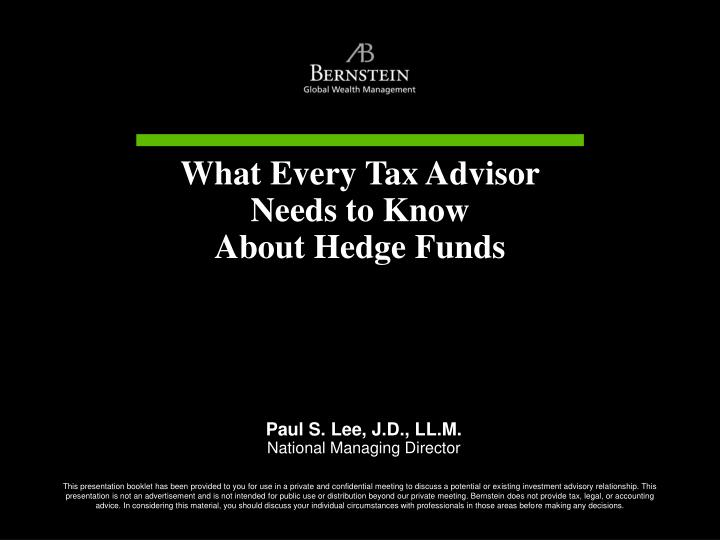 What Every Tax Advisor