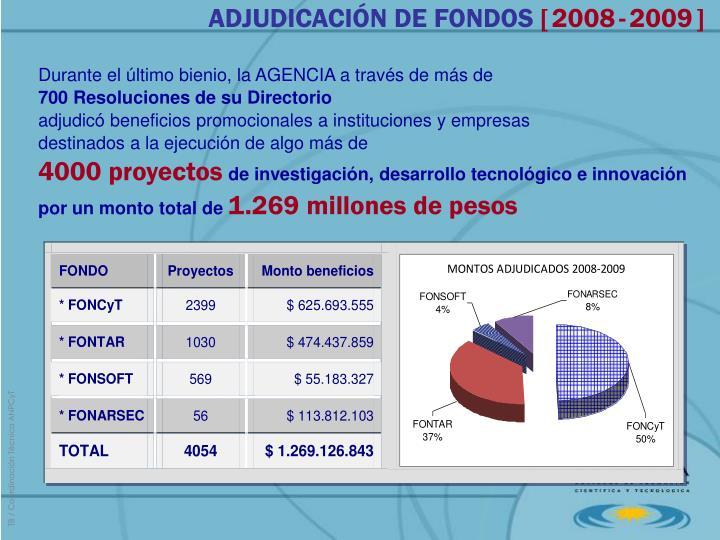 ADJUDICACIÓN DE FONDOS