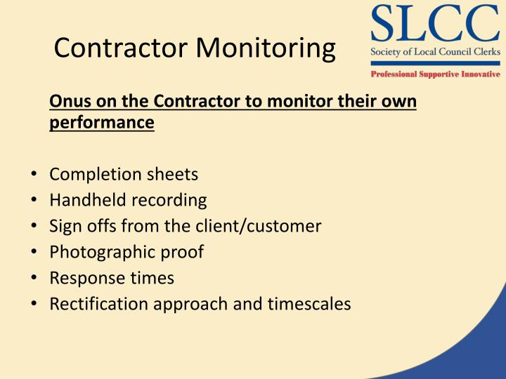 Contractor Monitoring