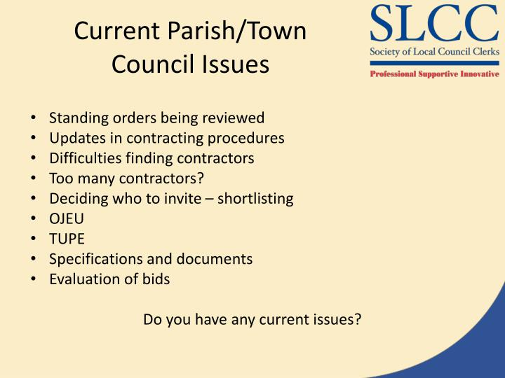 Current Parish/Town Council Issues