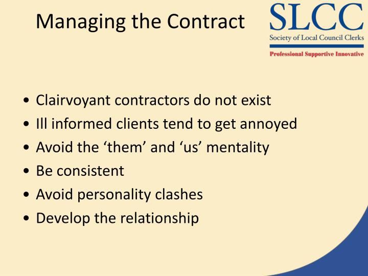 Managing the Contract