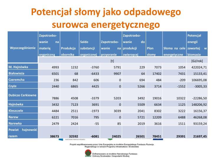 Potencjał słomy jako odpadowego surowca energetycznego