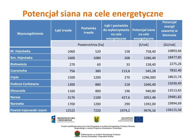 Potencjał siana na cele energetyczne