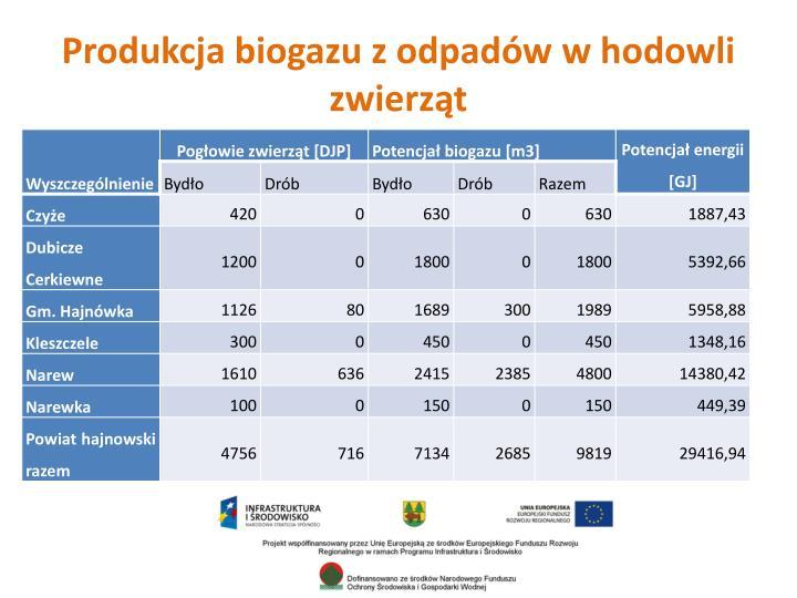 Produkcja biogazu z odpadów w hodowli zwierząt