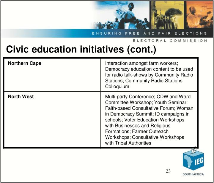 Civic education initiatives (cont.)