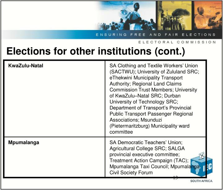 Elections for other institutions (cont.)