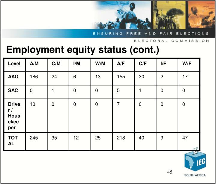 Employment equity status (cont.)