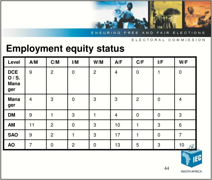 Employment equity status