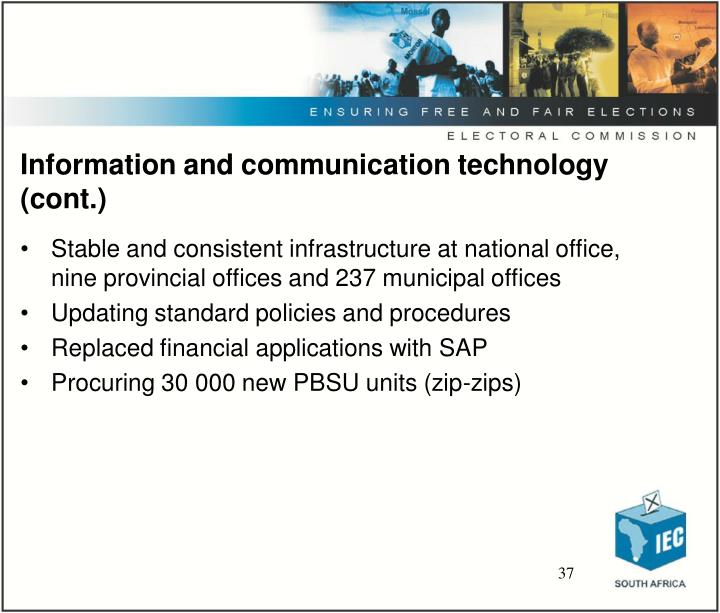 Information and communication technology (cont.)