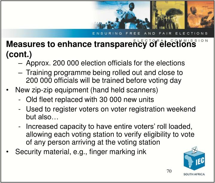 Measures to enhance transparency of elections (cont.)