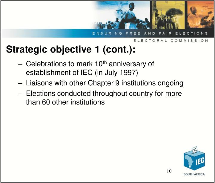 Strategic objective 1 (cont.):