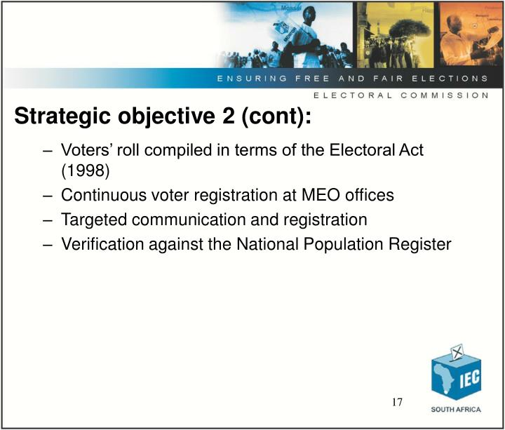 Strategic objective 2 (cont):