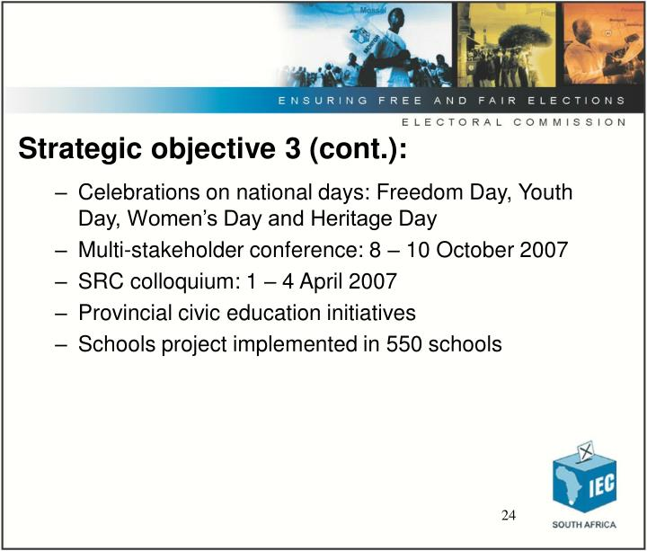 Strategic objective 3 (cont.):