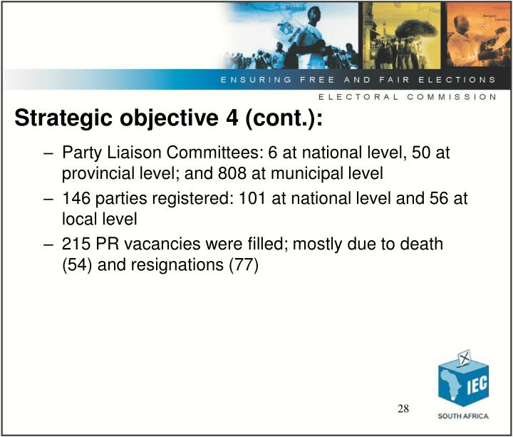 Strategic objective 4 (cont.):