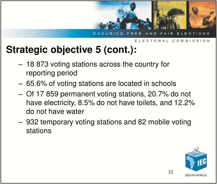 Strategic objective 5 (cont.):