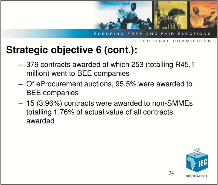 Strategic objective 6 (cont.):