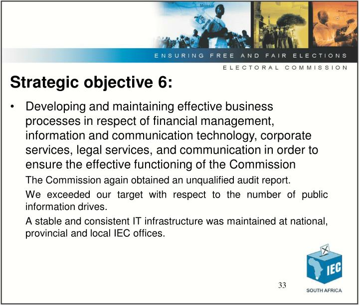Strategic objective 6: