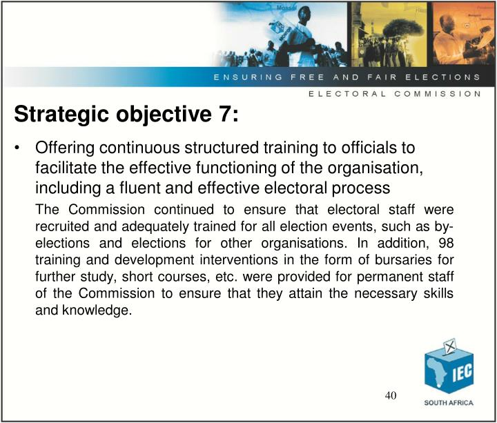 Strategic objective 7: