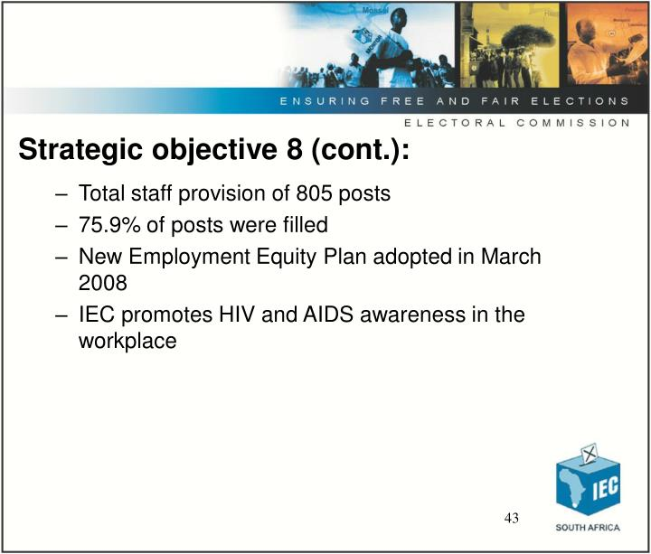 Strategic objective 8 (cont.):