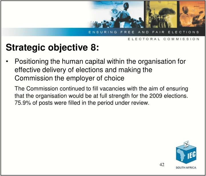 Strategic objective 8: