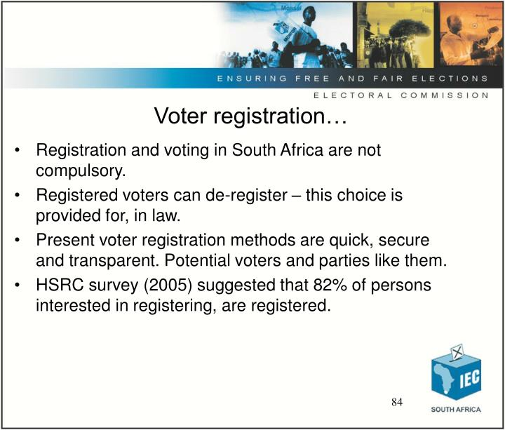 Voter registration…