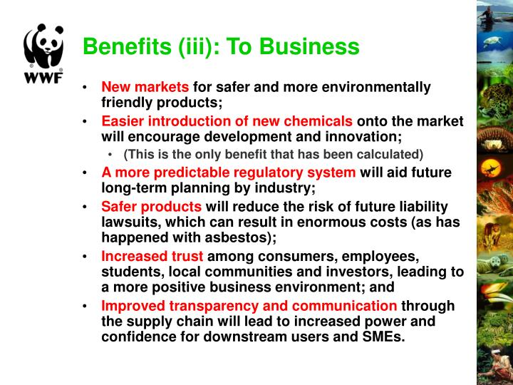 Benefits (iii): To Business