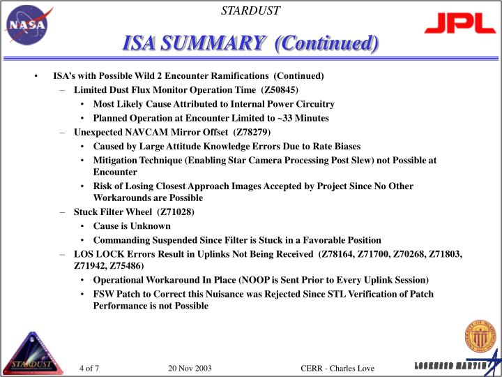 ISA SUMMARY  (Continued)