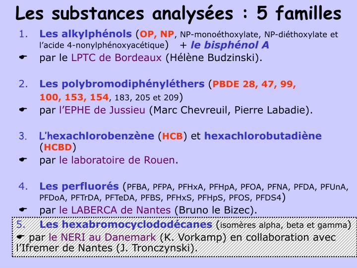 Les substances analysées : 5 familles
